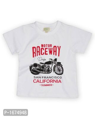 Motor Race Bike Printed Boys T Shirt -White