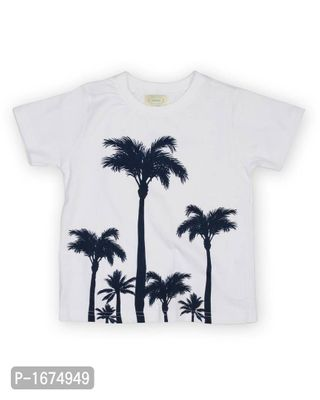 Tree Printed Boys T Shirt -White