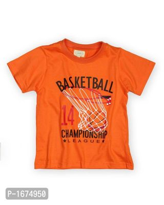 Basketball Printed Boys T Shirt -Orange