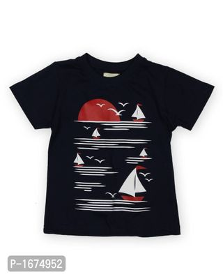 Navy Blue Boat Printed Boys T Shirt