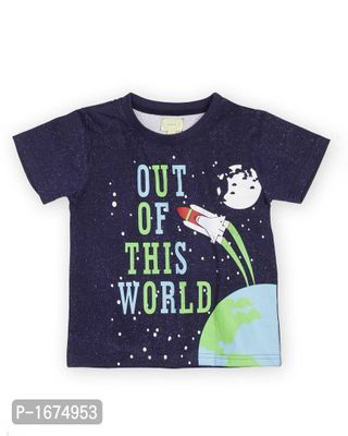 Blue Our Of World Printed Boys T Shirt