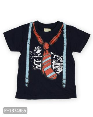 Blue Tie Printed Boys T Shirt