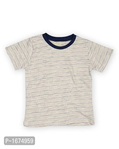 Off White Base Horizontal Dotted Lines Printed Older Boys T Shirt