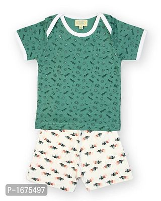 Green Base Insect Printed T Shirt With Solid White Shorts