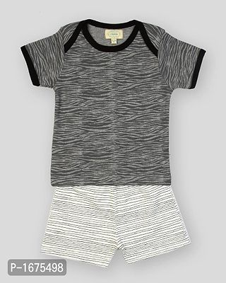 Grey Base Wavy Lines Printed Tshirt With Aop Stripe Printed Shorts