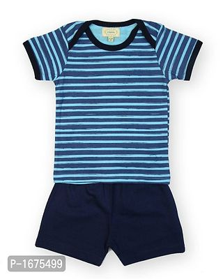 Blue Base Navy Stripe Printed Tshirt With Solid Navy Shorts