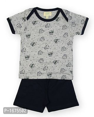 Grey Base Cool Dog Aop Tshirt With Navy Shorts