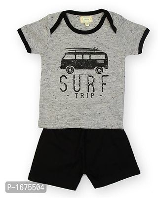 Grey Base Surf Trip Printed T Shirt With Black Shorts