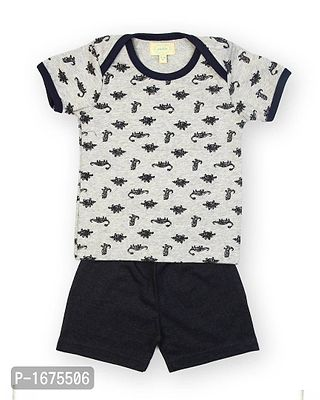 Grey Base Dinasour Printed Tshirt With Navy Shorts