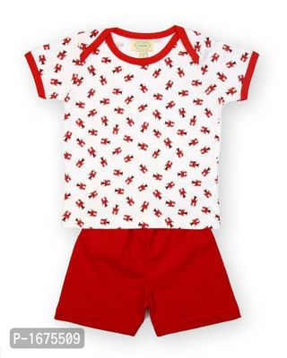 White Base Red Crab Printed Tshirt With Solid Red Shorts