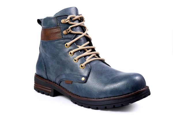 Blue Solid Flat Boots