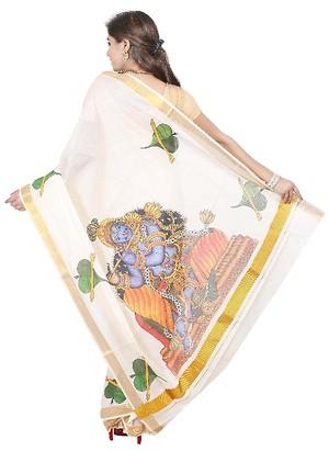 Mural printed traditional Kerala kasavu saree