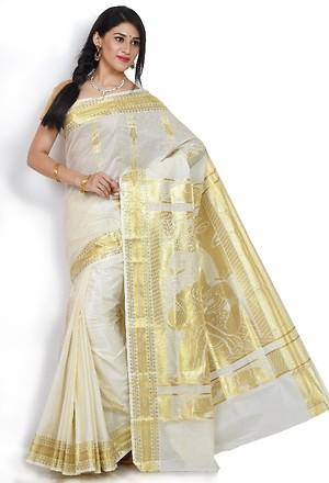 Tissue mix Kerala party saree