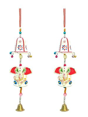 Set Of 2 Ganesha Wind Chimes Wall Hanging / Door Hanging / Welcome / Home / Office Decoration / Home / Office Decoration / Feng Shui Wind Chime / Home Decoration / Office Decoration /
