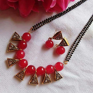 Glass Bead Mangalsutra with Matching Earrings MMS-101