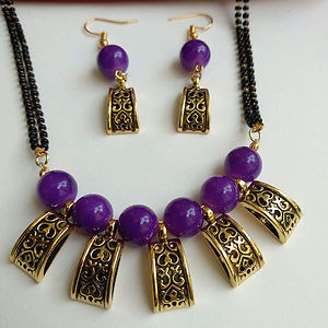 Glass Bead Mangalsutra with Matching Earrings MMS-105