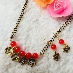 Glass Bead Mangalsutra with Matching Earrings MMS-112