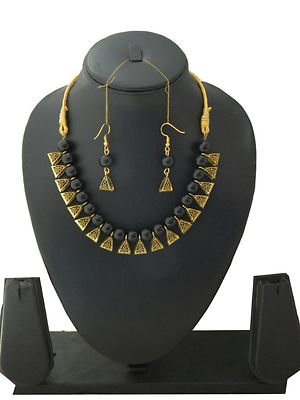 Designer Handmade Beads Necklace With Earrings MCN-112