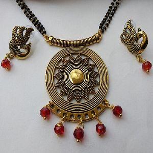 Designer Pendant Mangalsutra With Matching Earrings MMS-115
