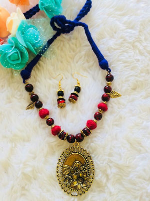 Designer Indo Western Threaded Necklace With Earrings MCAN-111