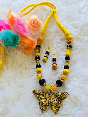 Yellow Butterfly Pendant Designer Indo Western Threaded Necklace With Earrings MCAN- 112A