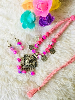 Pink Color Designer Indo Western Threaded Necklace With Earrings MCAN-113
