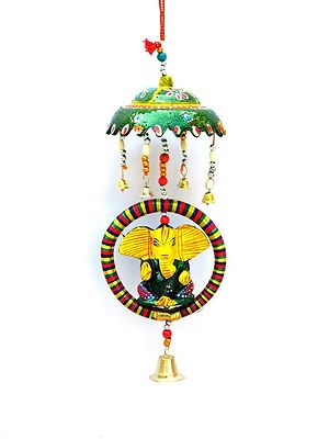 Ganesha Wind Chimes Wall Hanging / Home / Office Decoration / Feng Shui Wind Chimes / Home Decoration / Office Decoration / Wooden Wind Chimes Showpiece