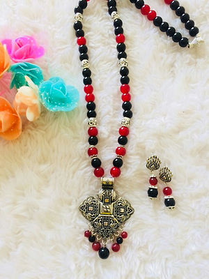 Designer Handmade Pendent Indo Western Necklace With Earrings MCAN-116