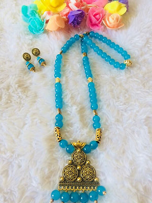 Blue Designer Handmade Pendent Indo Western Necklace With Earrings MCAN-117