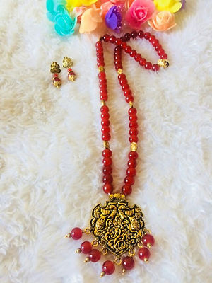 Red Designer Handmade Pendent Indo Western Necklace With Earrings MCAN-118