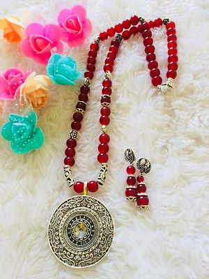 Designer Handmade Round Pendent Indo Western Necklace With Earrings MCAN-119