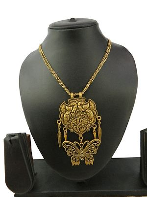 Tribal Art Necklace With Beautiful Design Pendent Antique Rajwadi Long Necklace MBN-105