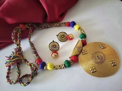 Multi Colour Traditional Designer Threaded Round Pendant Necklace With Earring MTN-118