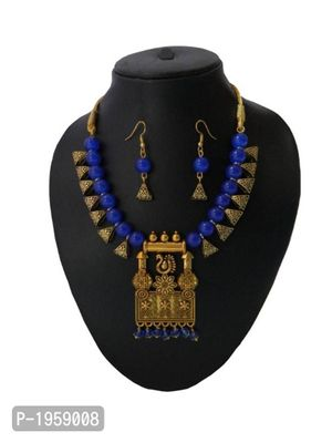 Blue Designer Pendant Indo Western Necklace With Earring MCAN-106