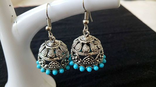 Oxidised Jhumka with matching colors