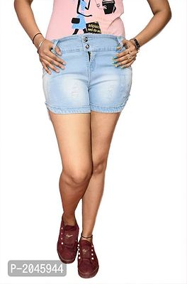 Ice Blue Washed Regular Fit Denim Shorts