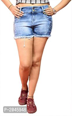 Blue Washed Regular Fit Denim Shorts