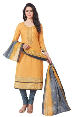 Yellow & Grey Printed Unstitched Salwar Suit Dress Material