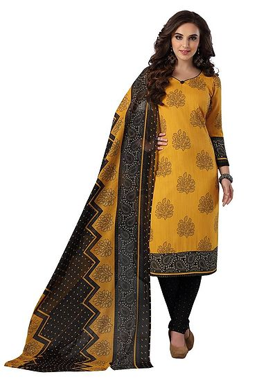 Yellow & Black Printed Unstitched Salwar Suit Dress Material