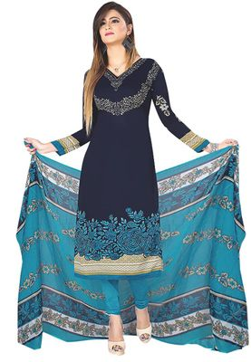 Blue Printed Unstitched Salwar Suit Dress Material