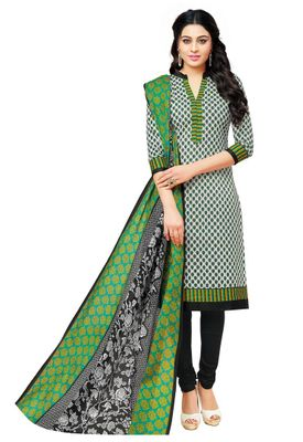 Cotton Grey & Black Printed Unstitched Salwar Suit Dress Material