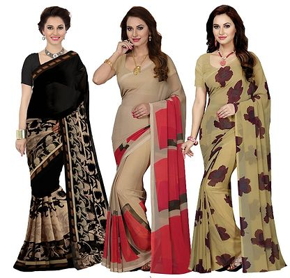 Combo of 3 Faux Georgette Multicolor Printed Saree