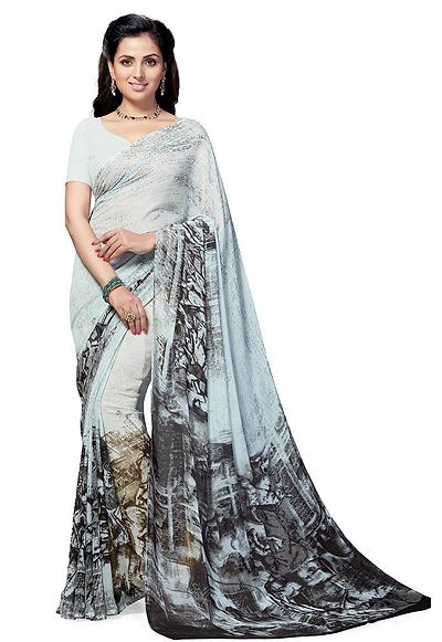 Faux Georgette Grey & Black  Printed Women's Saree