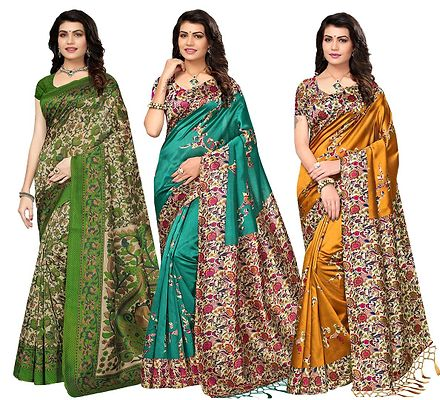 Combo of 3 Multicoloured Poly Silk  Printed  Saree