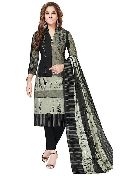 Grey & Black Printed Unstitched  Dress Material