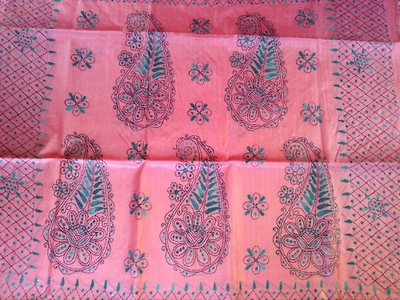 Tussar silk saree with Kantha work and running blouse piece