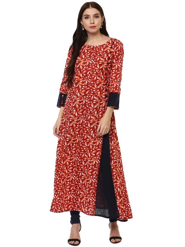 Red Cotton Designer  Long kurtas