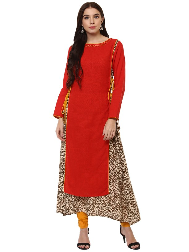 Red Cotton Slub Designer Hand Work Long kurtas