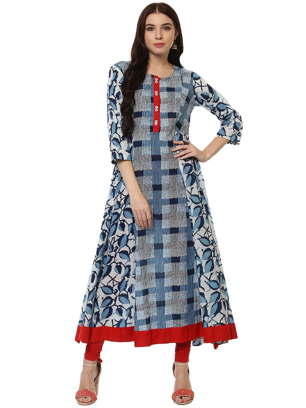 Navy Blue  Cotton Designer Long Anarkali kurtas