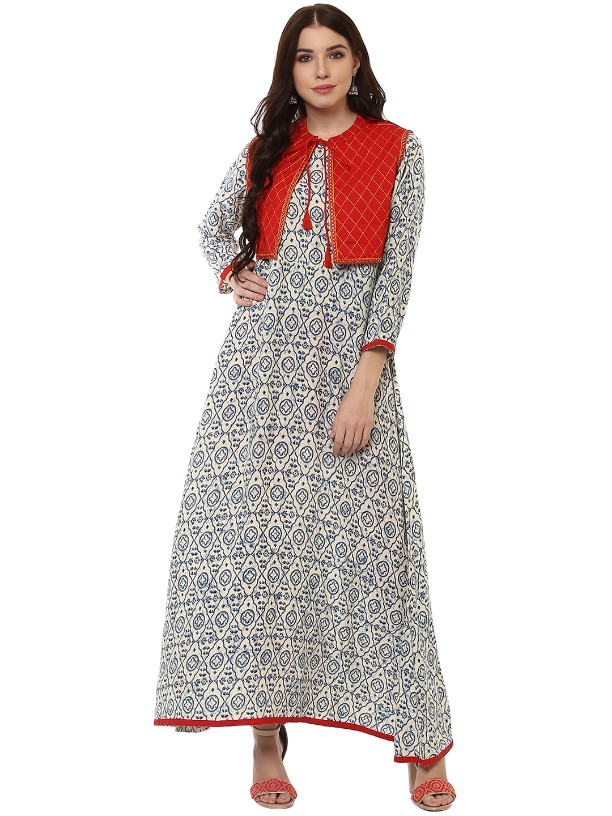 Grey  Rayon Designer Embroidered Work Anarkali kurtas